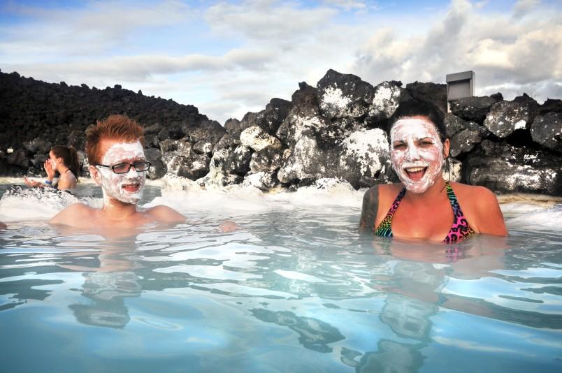 Mud face masks at the Blue Lagoon