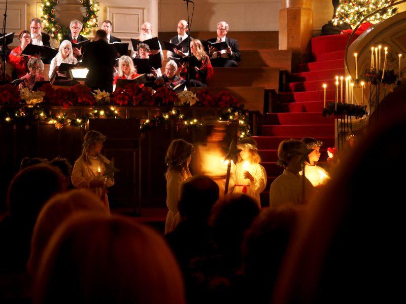 Sing along at a carol concert