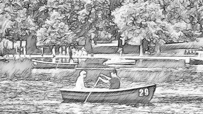 Boating in Serpentine Lake, Hyde Park