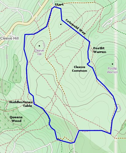 Cleeve Hill Ring Walk Map