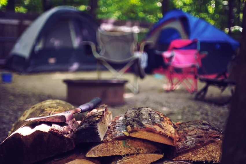pile of firewood camping